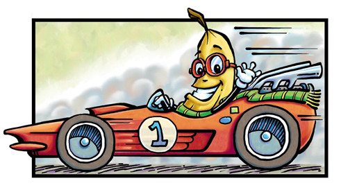 Bannana race car driver comic illustration