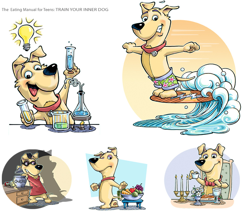 "Character design and illustration of dog for ""Train your inner dog"" book"