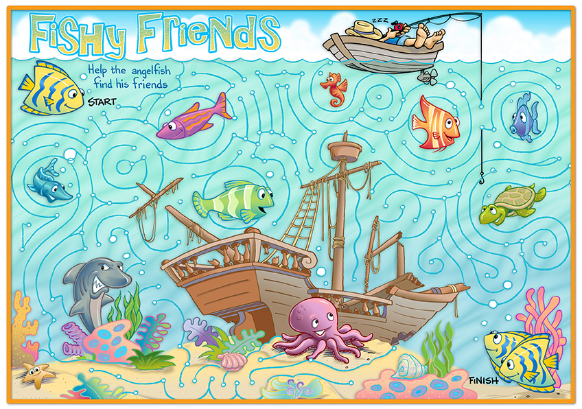 Illustration of undersea maze for kids by Robbie Short