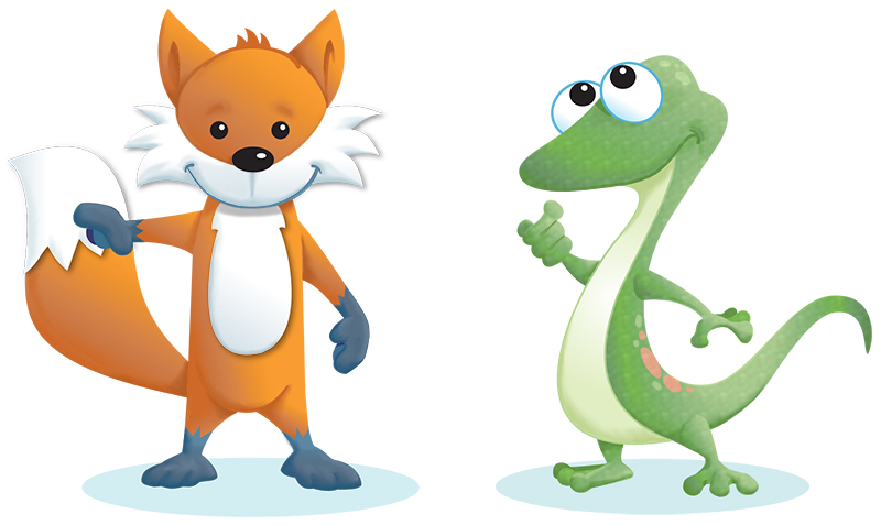 Fox and Gecko cartoon character design