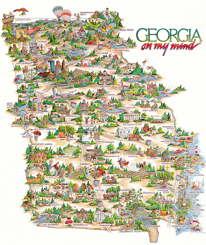 Illustrtated cartoon map of the state of Georgia
