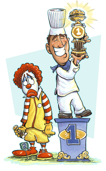 Editorial illustration of Ronald McDonald finishing second
