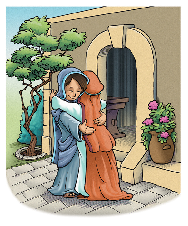 Illustration of Mary hugging Elizabeth in Bible story
