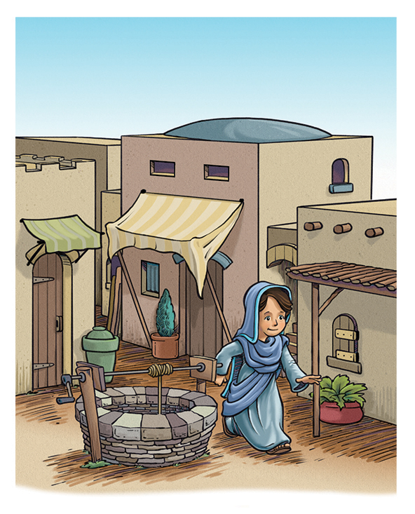 Children's illustration of Mary walking through a village by a well