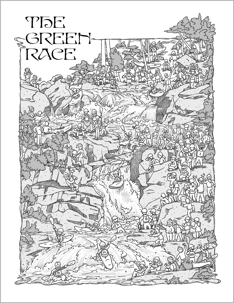 Illustration of the Green River Kayak Race for poster - black and white